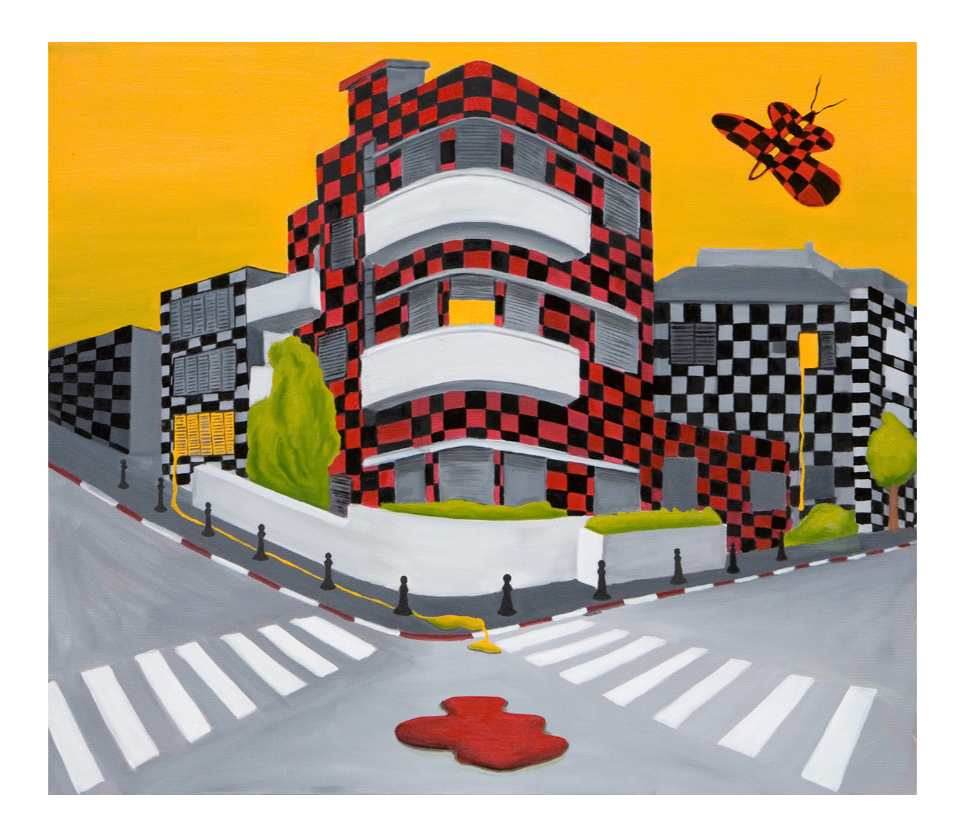 Checkered City, Oil on canvas <br> 70 x 80 cm, 2009