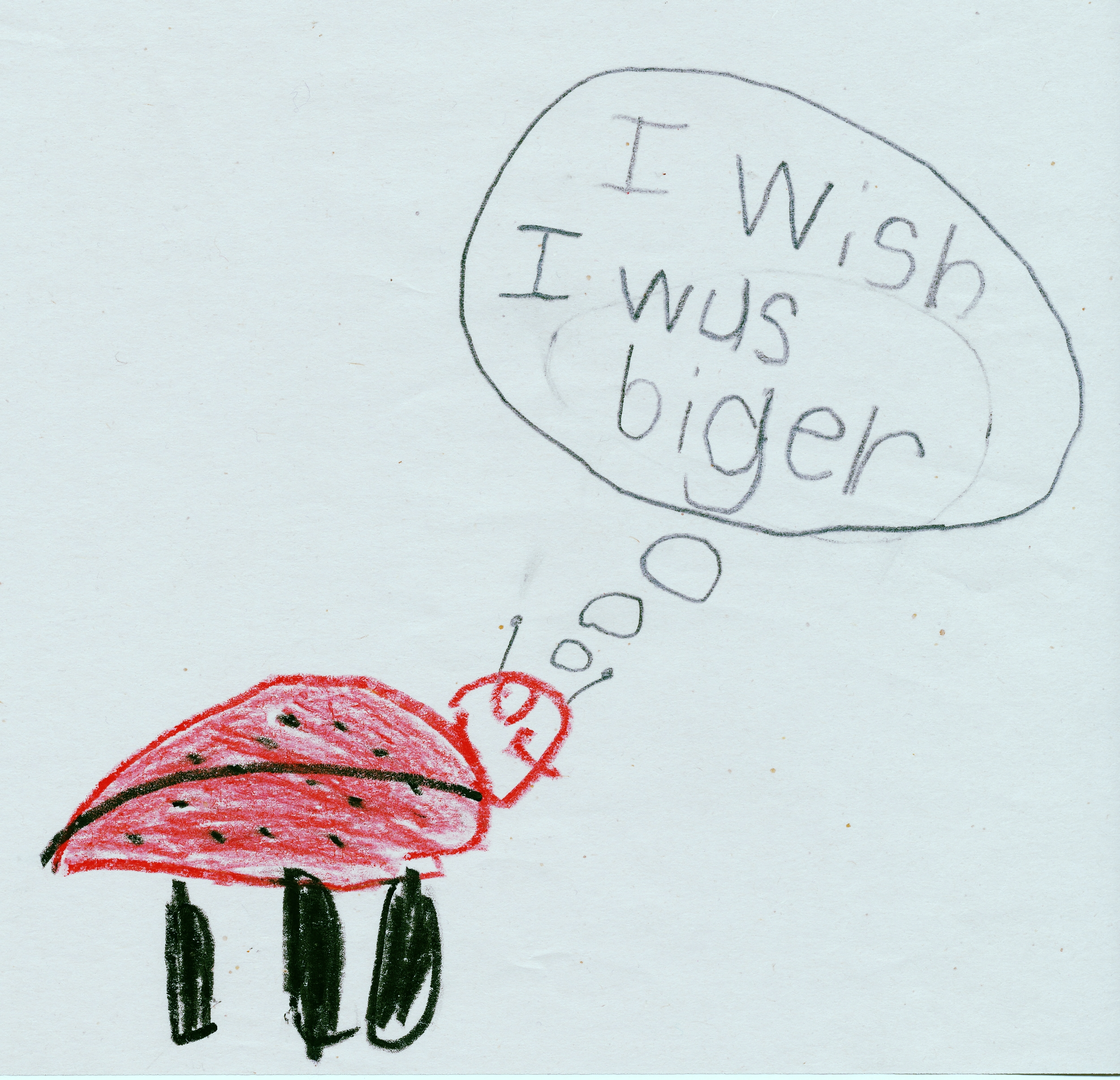 """""""Ladybug Dreaming,"""" pencil and crayon on paper,by Vittorio, age 6"""