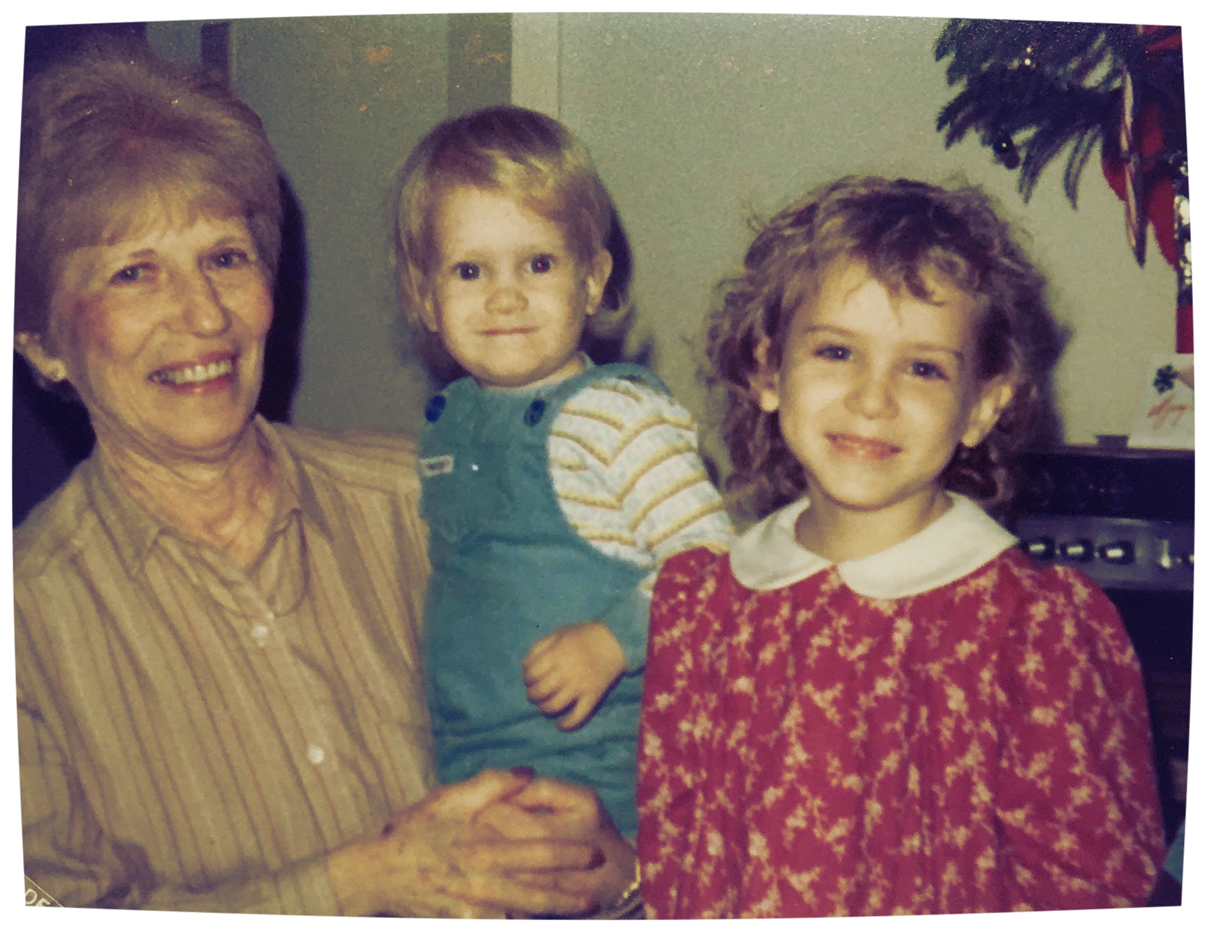 Gramma Billee, the writer's baby brother, and the writer as a little girl, 1982