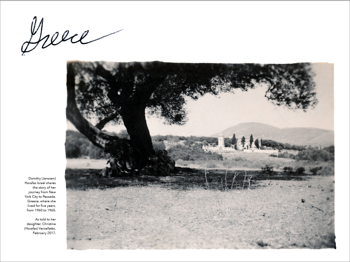 The opening spread for a section of remembrances of one woman's years spent in Greece: By blowing up lovingly restored photographs that originally fit in the palm of one's hand to be featured across the pages of a large-format book, the design invites readers to spend time with the book's stories, to linger and experience the subject's memories in a meaningful way.