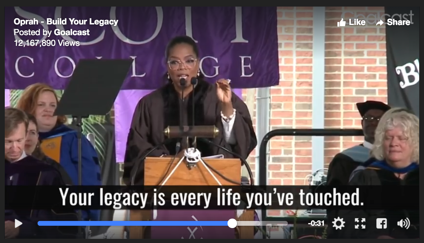 oprah winfrey speaks about the importance of legacy at agness scott college commencement speech