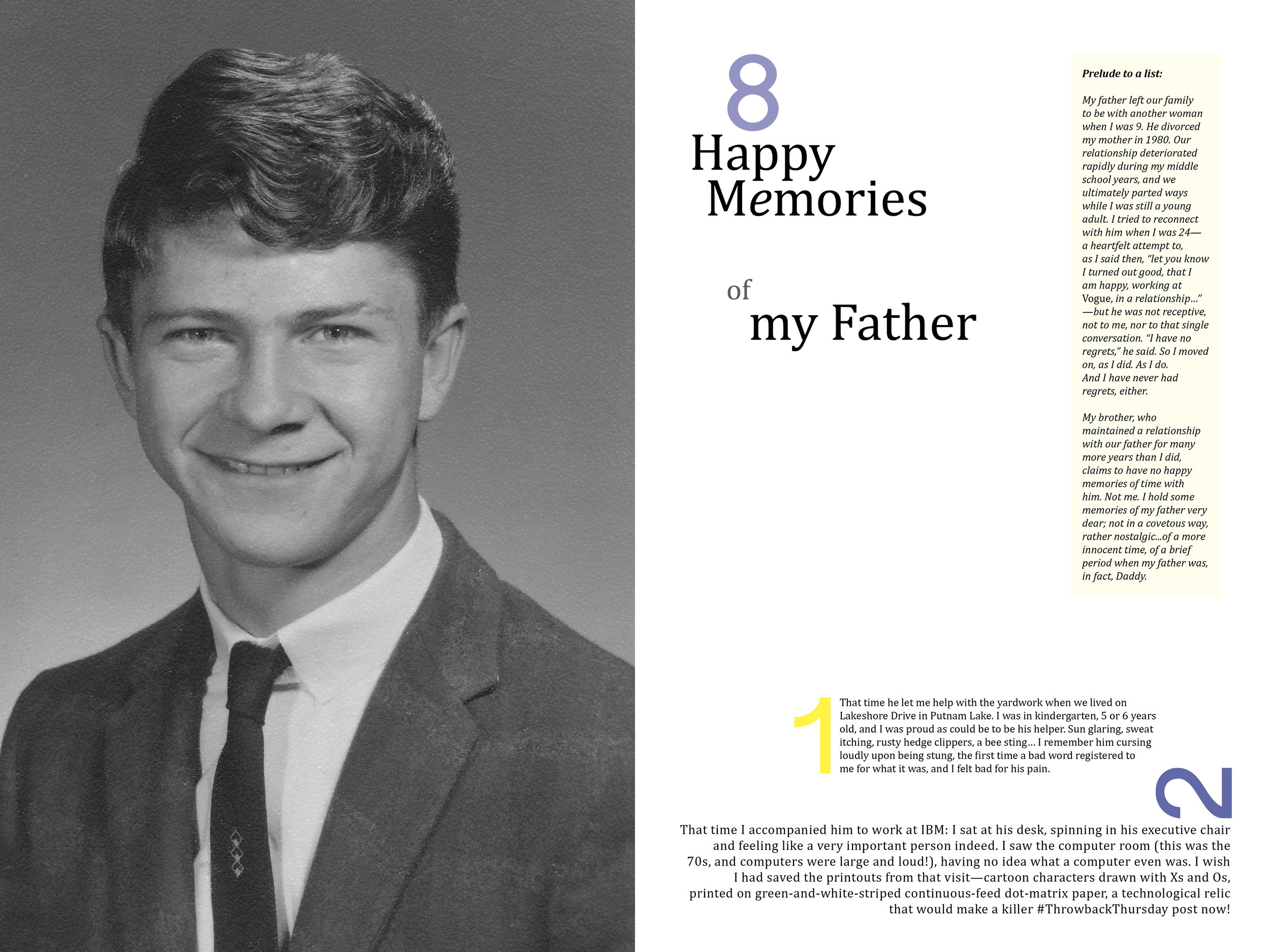 The opening spread of a section of an heirloom book that uses a list format to tell family stories; view all eight pages below.