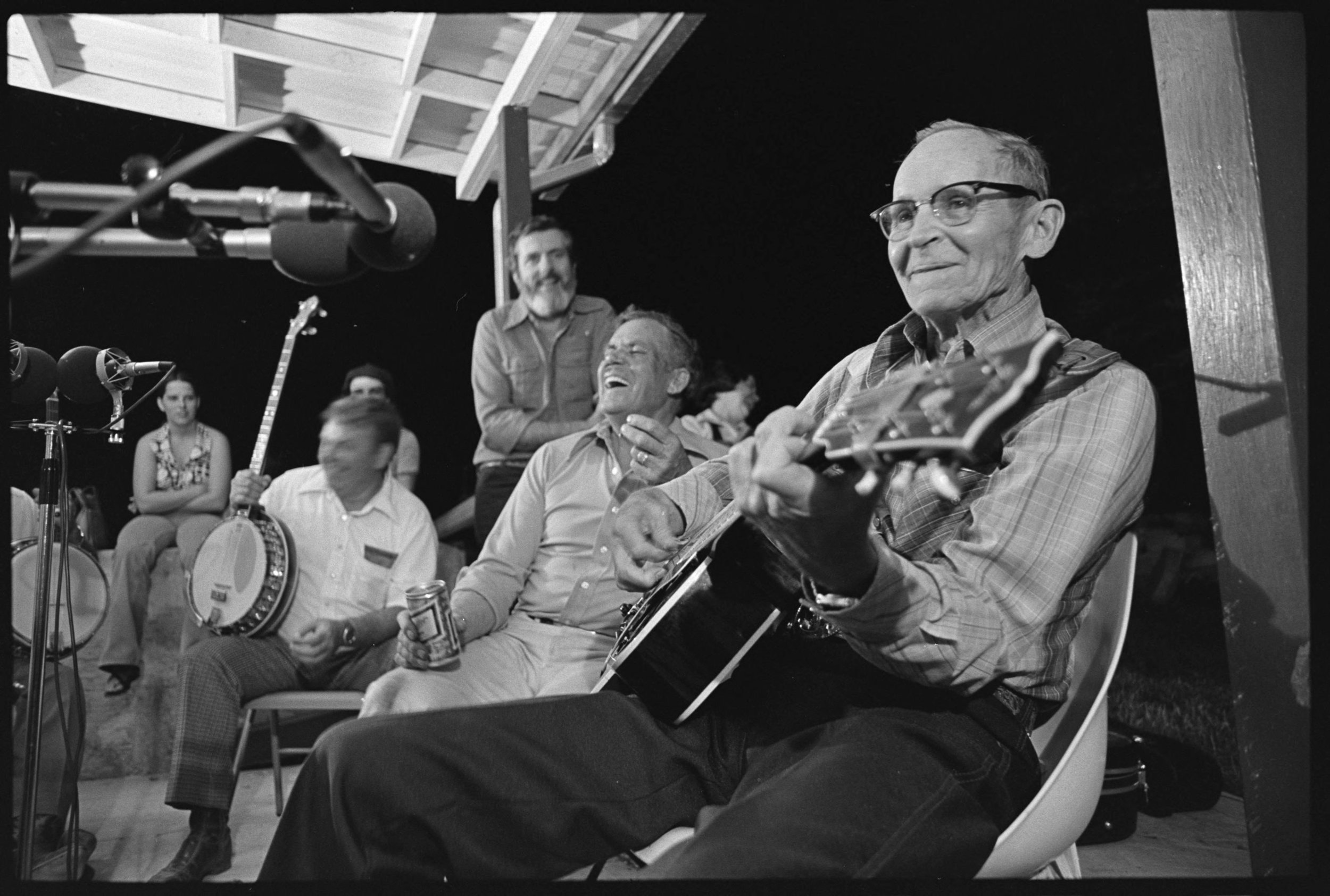 PHOTOGRAPH: Old time fiddling at Bernie Rasmussen's in Polson, Montana, July 22, 1979, from the  Montana Folklife Survey collection  at the Library of Congress.
