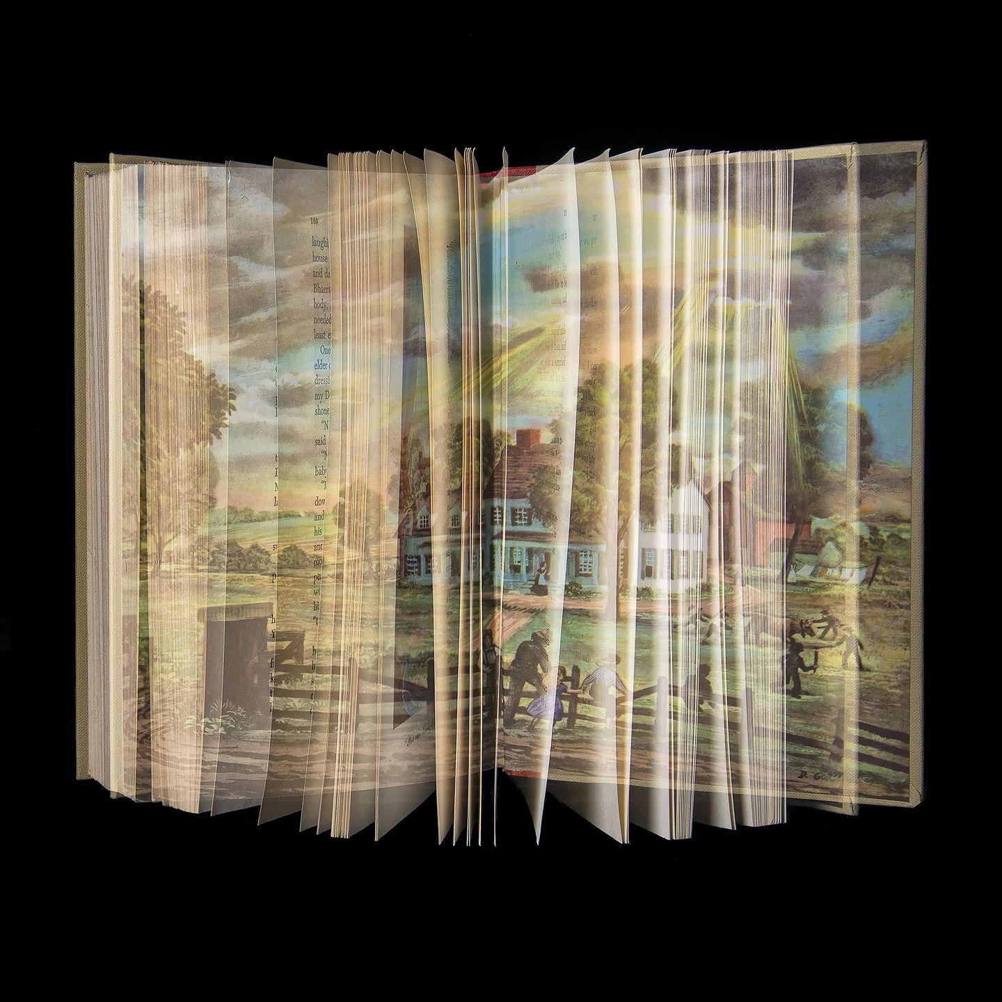 """Ellen Cantor's """"Prior Pleasures"""" series of double-exposure photographs (no Photoshop involved!) """"explores memory and preservation of the past while ensuring the creation of a visual legacy for the next generation. The books photographed for this series are the ones I have carried with me since childhood,"""" she describes.  Photograph by Ellen Cantor.  Learn more in """"Seeing Double"""" below."""