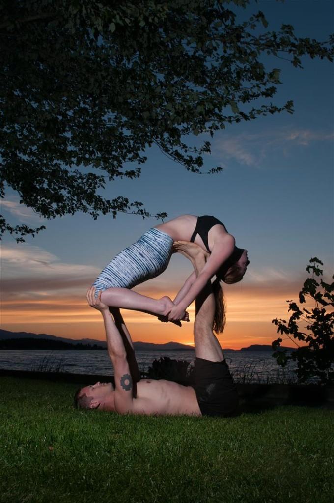 sunset acro yoga
