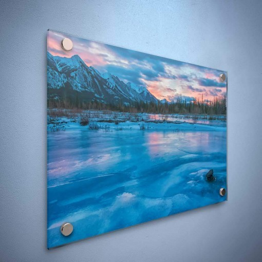 Acrylic - For those looking for a unique and modern way to display your family artwork Acrylic Mounting is a wonderful option. Your photographic print is intensified when mounted under crystal clear acrylic. The colours are more vivid and there is a sense of extra depth.