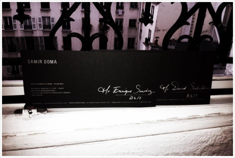 Invitation to the Damir Doma fashion show, addressed to Enrique.