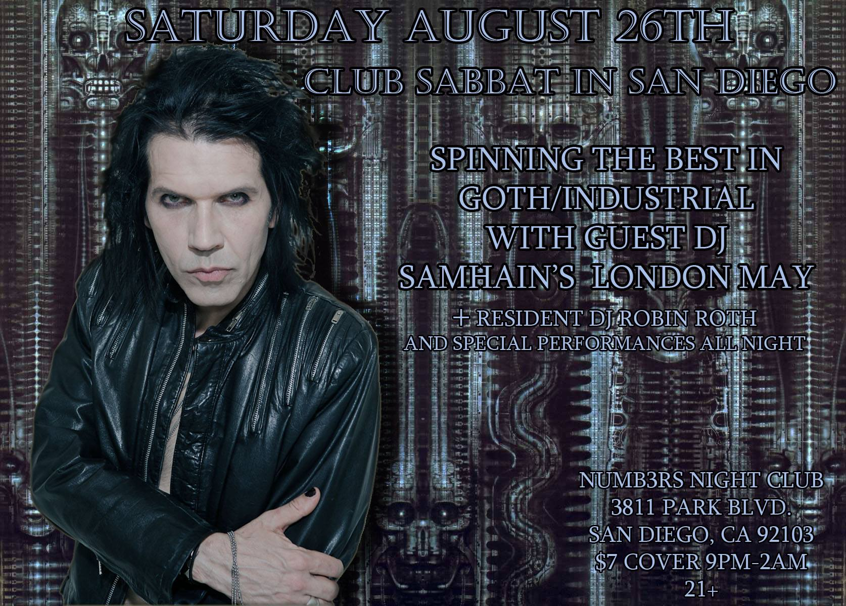 Calling all Night Creatures of San Diego! Come get your Goth on! On 8/26 I'm switching music gears to spin the best Goth/Industrial music at  Club Sabbat  along w/resident DJ  Robin Roth . Join us for a wicked night of dancing & special performances.