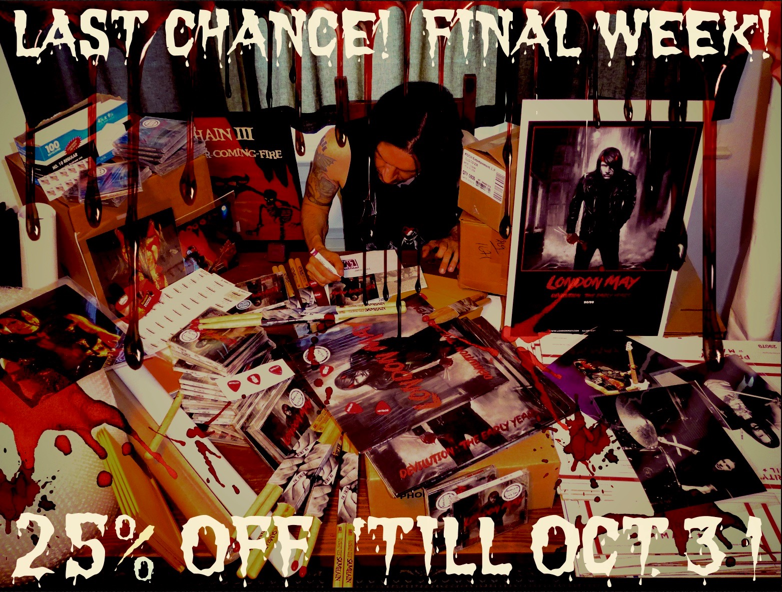 "Muhahaha! PRICES SLASHED! Final Week! Take 25% off EVERYTHING 'til 10/31/17. Signed Samhain/Tiger Army/Son Of Sam/Devilution CDs-LPs-Sticks-Picks-Photos-Posters & more! Go to http: //londonmay.bigcartel.com/  and enter ""HALLOWEEN"" at checkout. Partial proceeds to benefit https: //bestfriends.org/"
