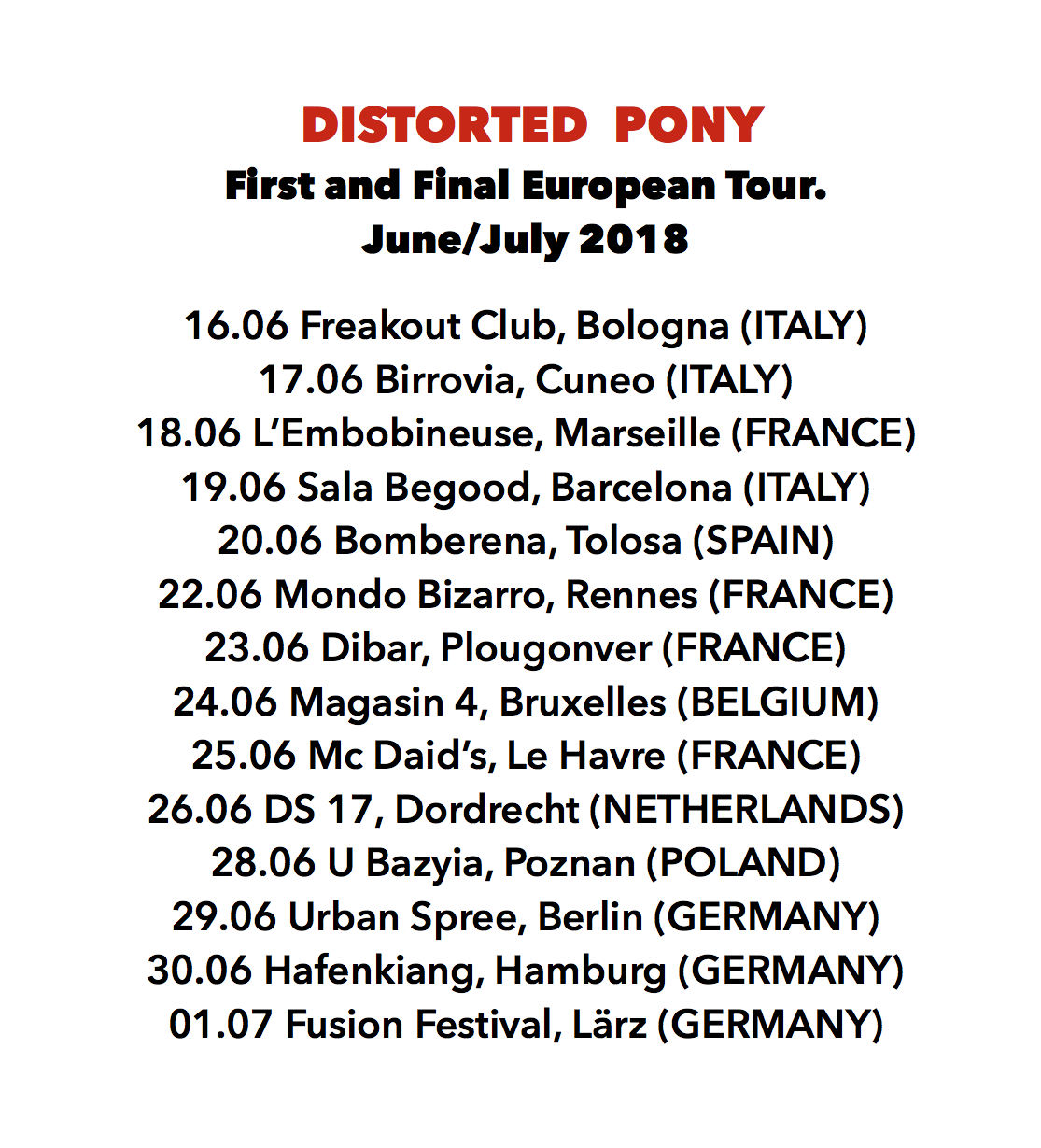 "LM is back with 90's noise pioneers Distorted Pony for their ""First and Final"" Euro Tour. 14 shows in 8 countries starting June 16!"
