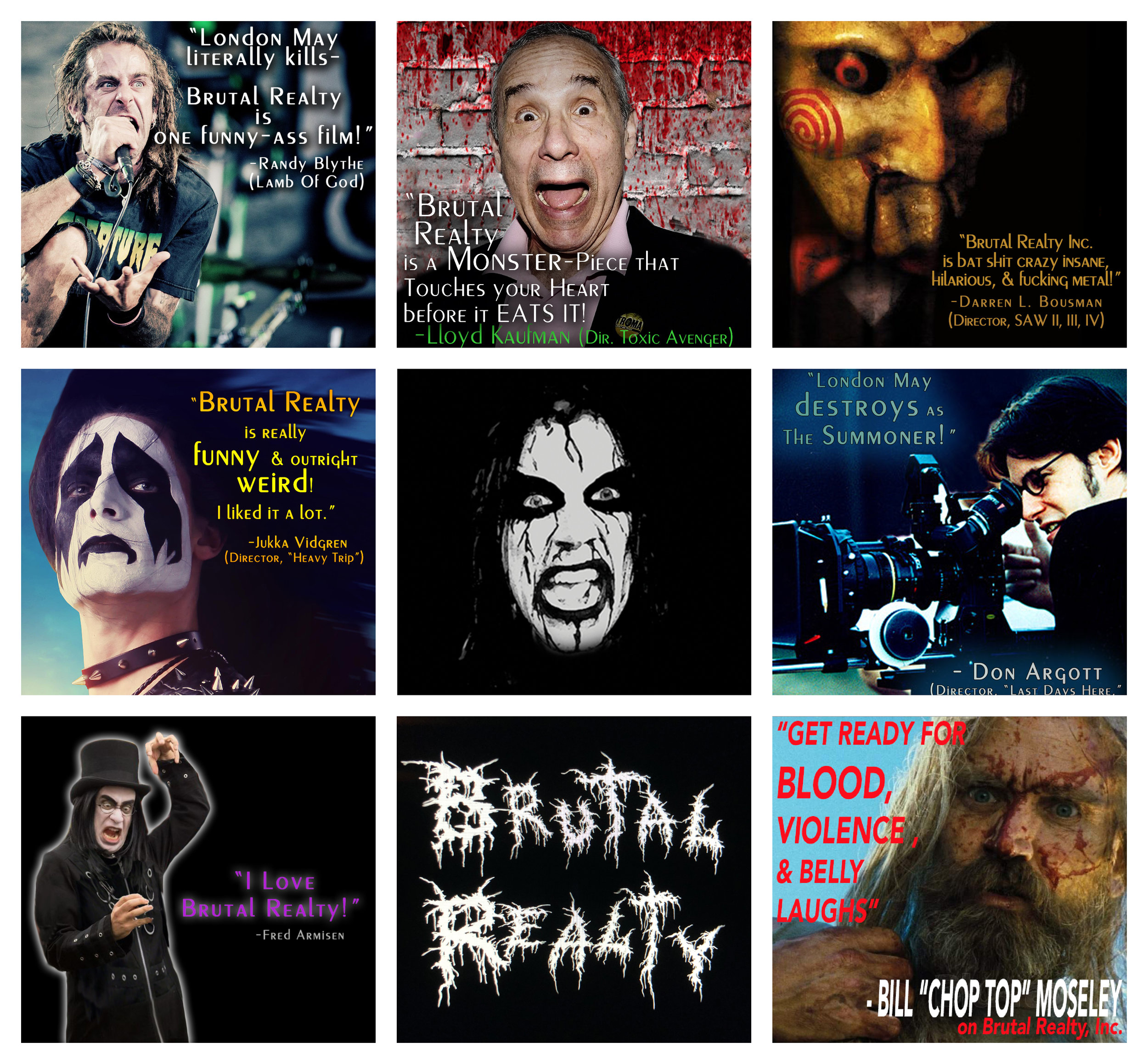 """BRUTAL REALTY INC.  RECEIVES """"2 HORNS UP"""" FROM THESE LEGENDS OF METAL, COMEDY, AND HORROR! FANGS FOR THE WICKED ACCOLADES!"""