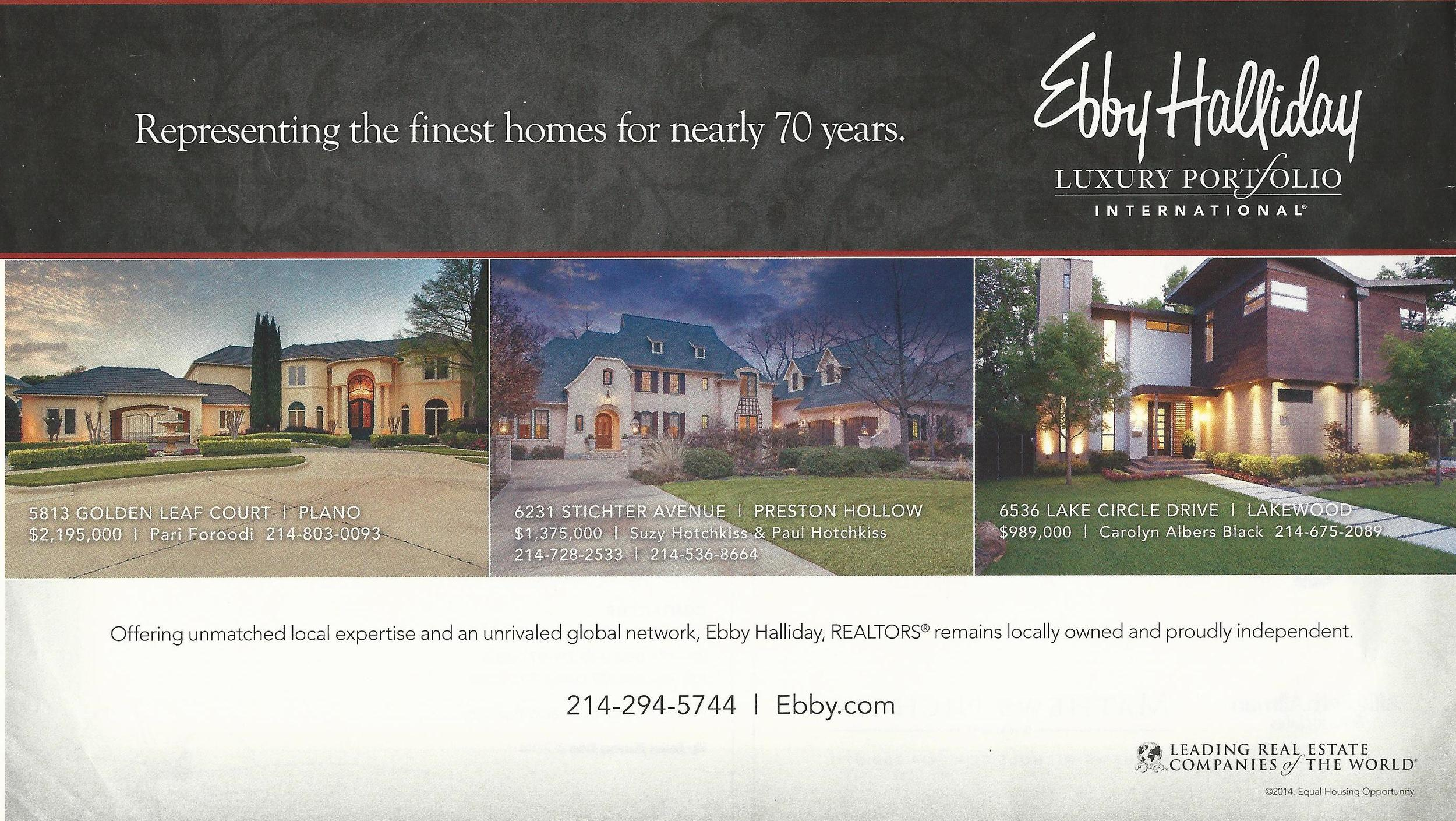 An advertisement that was featured in Grande Vie magazine featuring one of our listings. Our listing appears in the middle.