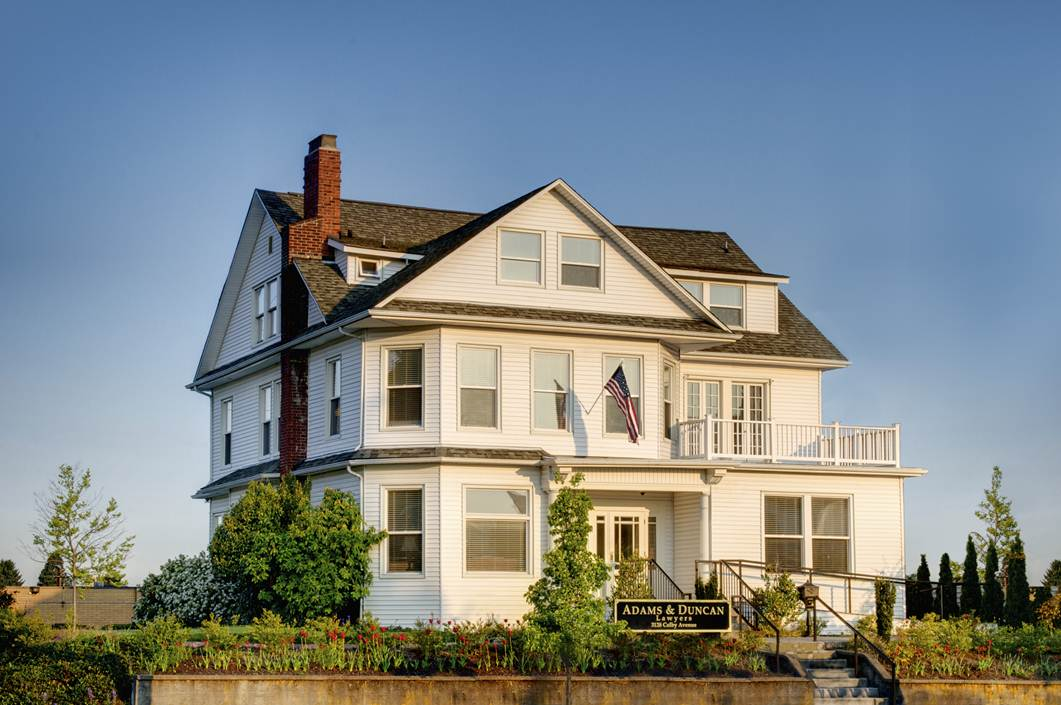 The historic Edwards House in Everett is home to the office of Adams & Duncan Lawyers.