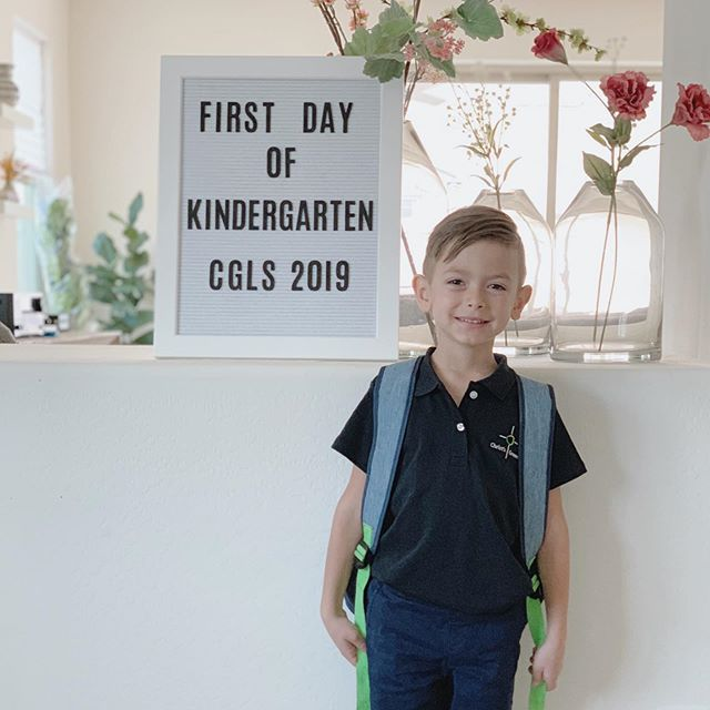 """Me - """"Ellis, are you ready and excited about your first day?!""""  Ellis - """"Mom, how could I not be?!""""   When we heard the school bell ring - that's when it really set in. How is he old enough for this?!   I promise I had this little tiny babe yesterday. He had the most wonderful face I'd ever seen. He had a permanent frown because he wasn't so happy for the first (long) while. But he was amazing. And now, he's a Kindergartner. He's so ready. Way more than I am. ❤️  Gosh, it happens so fast!"""