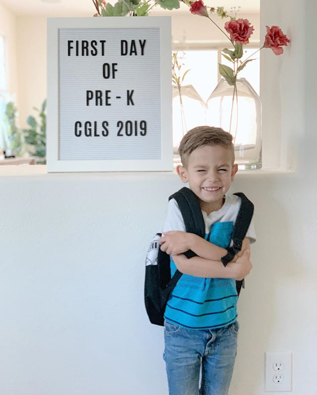 First FULL day of Pre-K! 🏫   Ezra Grey had his first (half) day of Pre-K on Monday and first Full day today.  As I walked him down the hall to his classroom I could see he was a little tentative. A little unsure. First time really being on his own, without his big brother. 👦👦  This little boy has my heart. He's such a mix of all these wonderful things. Some of those things are challenging right now as a 4 yr old but I know they're part of what will make him a beautiful, brave person as he grows older. This year he will learn so many new things. But I hope this is what sticks.   He is loved beyond what we can express.  He was created with a purpose.  He can do anything and we will be his biggest cheerleaders, always.