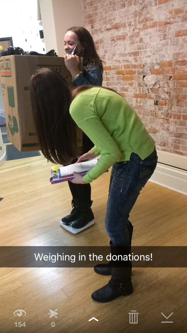 Abby Heasley's donations weighed 105 pounds!