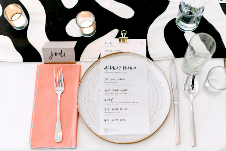 Pre-dinner detail of place setting & menu. Hand-painted silk table runner by Kristi O'Meara.