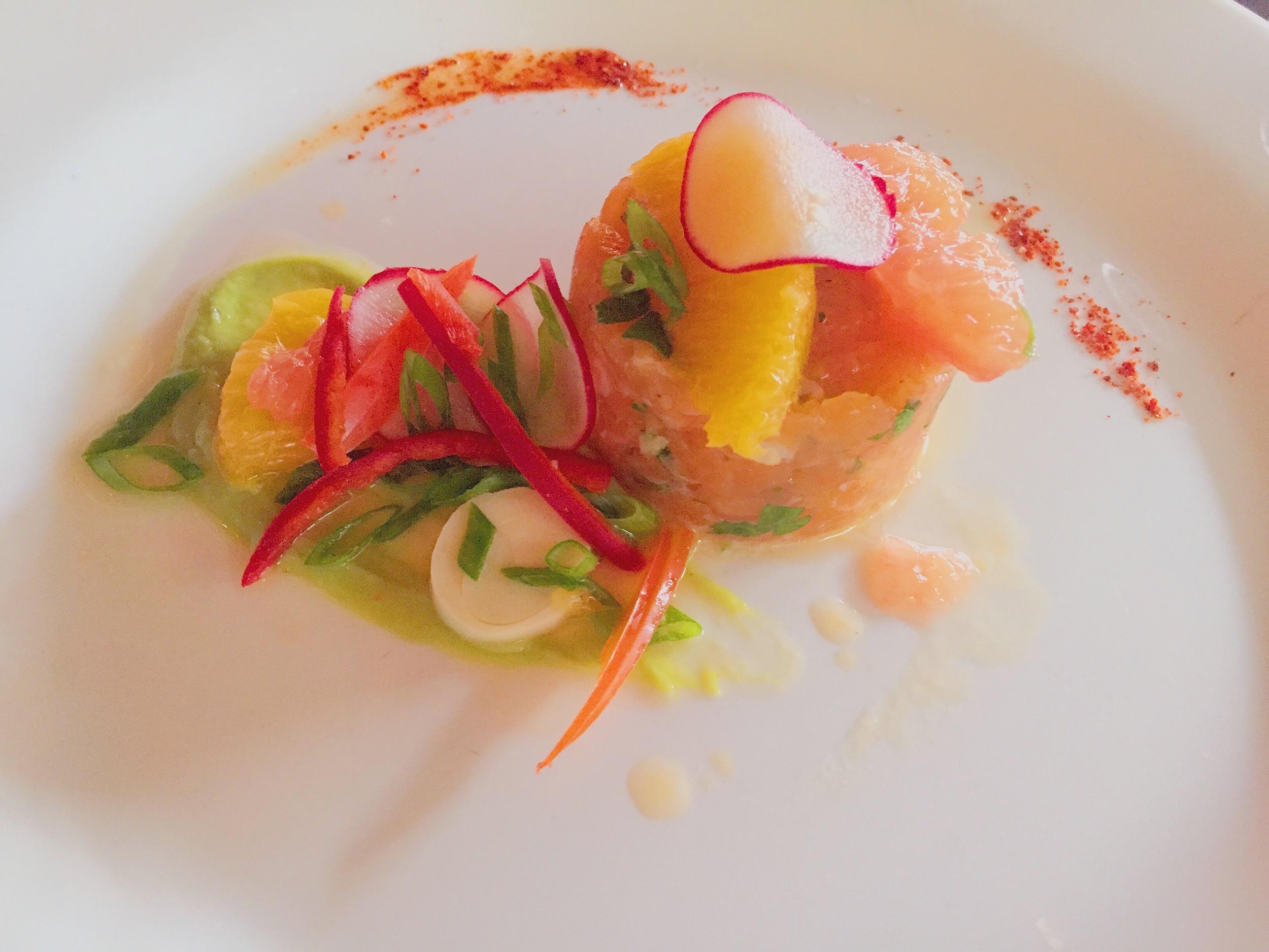 Salmon Tartare: california olive oil, citrus, hearts of palm, whipped avocado