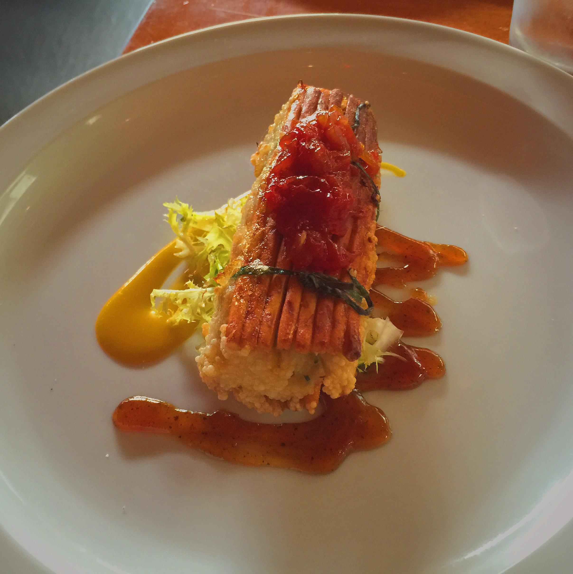 Pretzel Crab Cakes :tomato marmalade, mango, frisee, cumin citrus