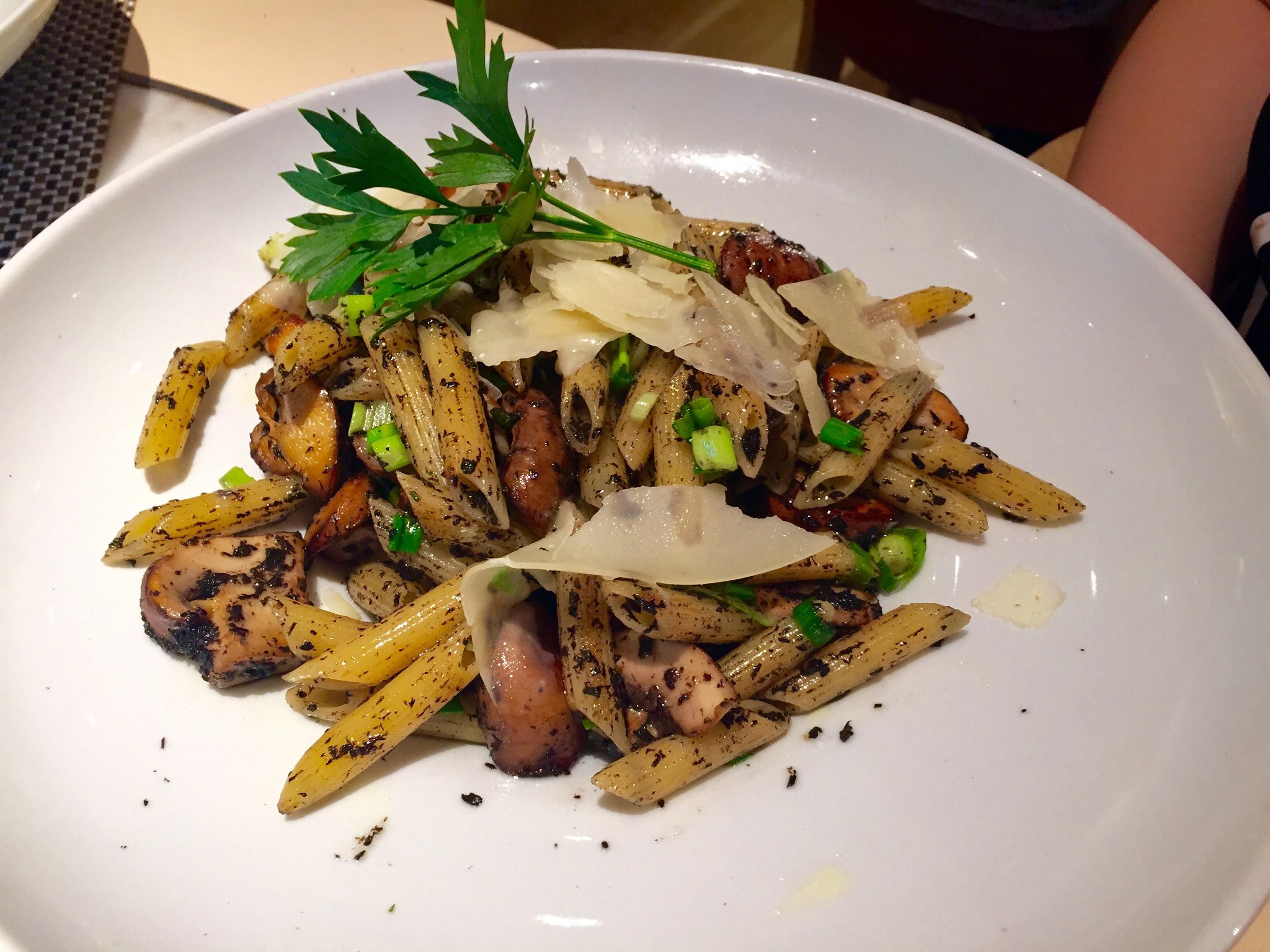 Penne Funghi Tartufo:   Cremini and black trumpet mushroom, Parmesan parsley, scallion – White Truffle Olive Oil