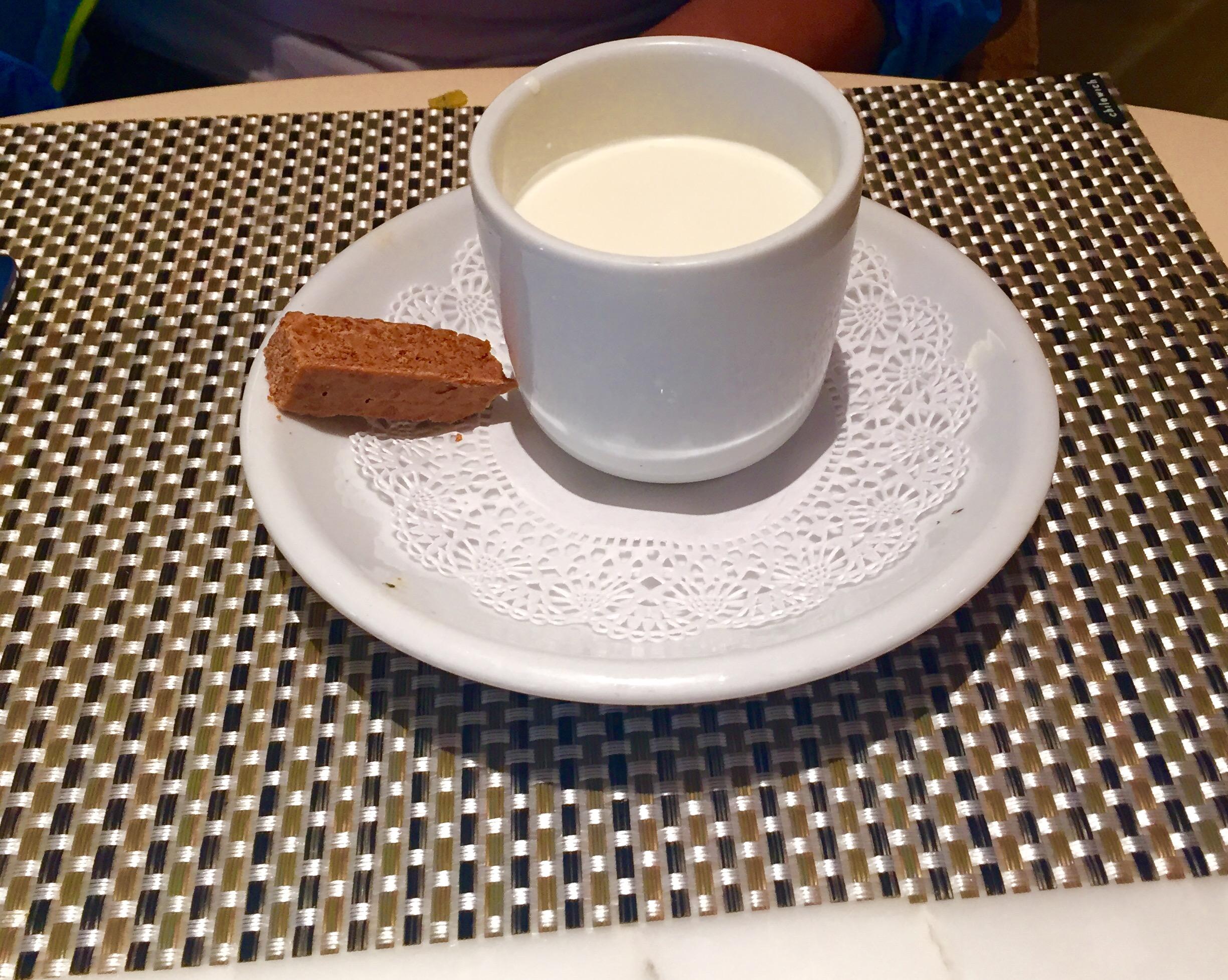 Chocolate Pot de Creme:   Crunchy praline financiers & vanilla cream