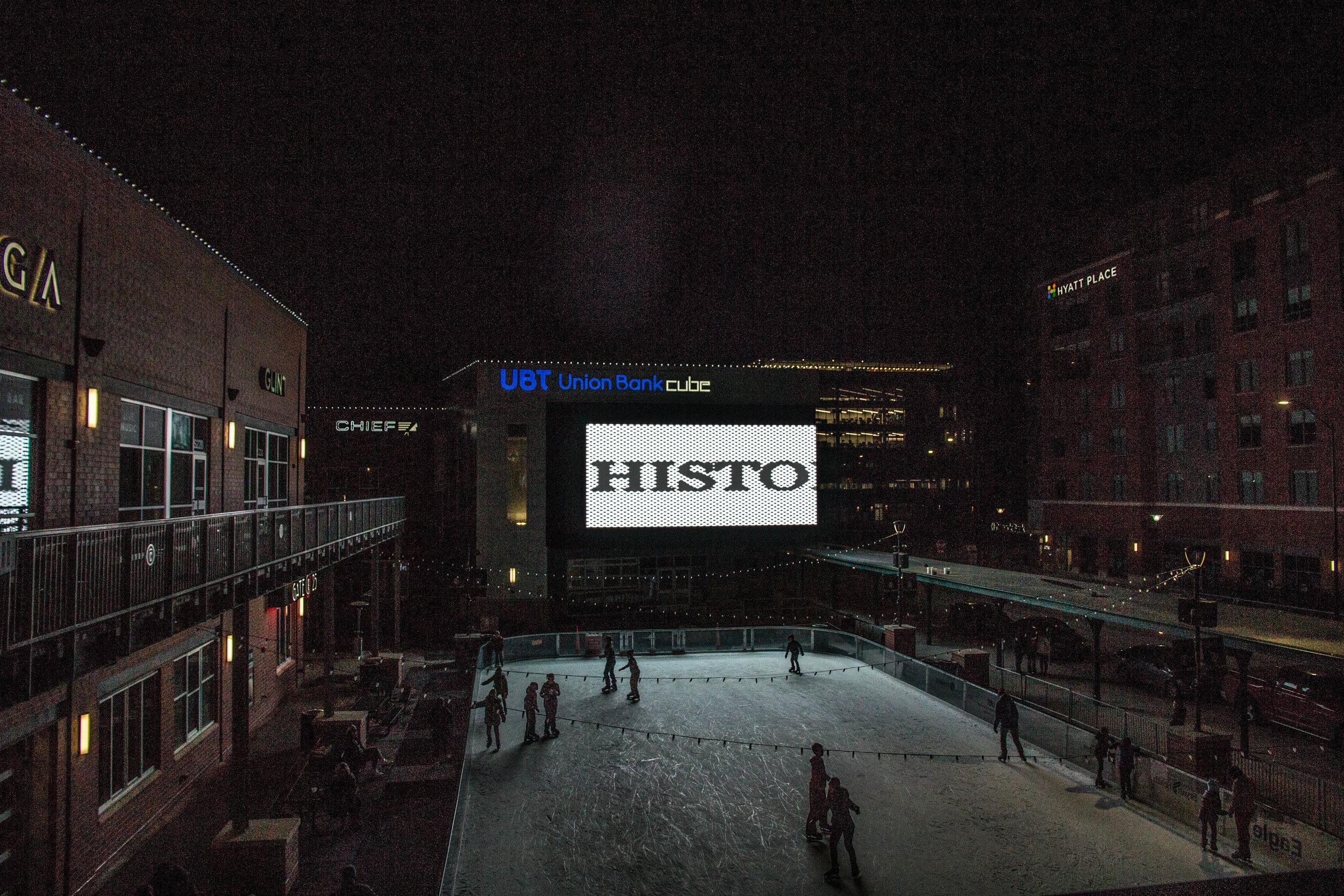 HISTORY public art video installation at The Cube Art Project (venue photo).