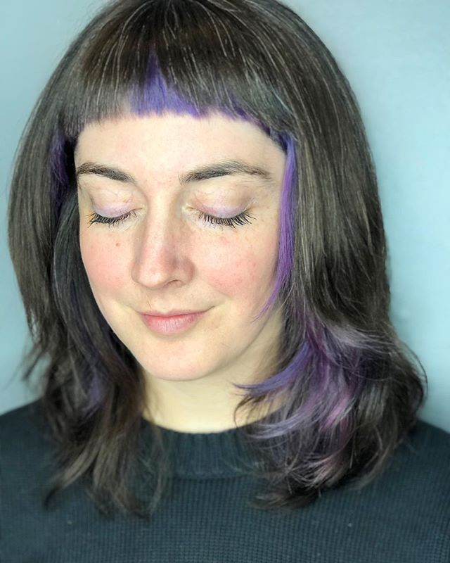 Sam is the sweetest with these little lilac accents💜 Painted with @evohair staino. . . . . .  #tashapaintedit #tashacutit #staino #evohair #portlandmaine #mainehairstylist #mainevividspecialist #mainehair #newenglandhair #hairbrained_official