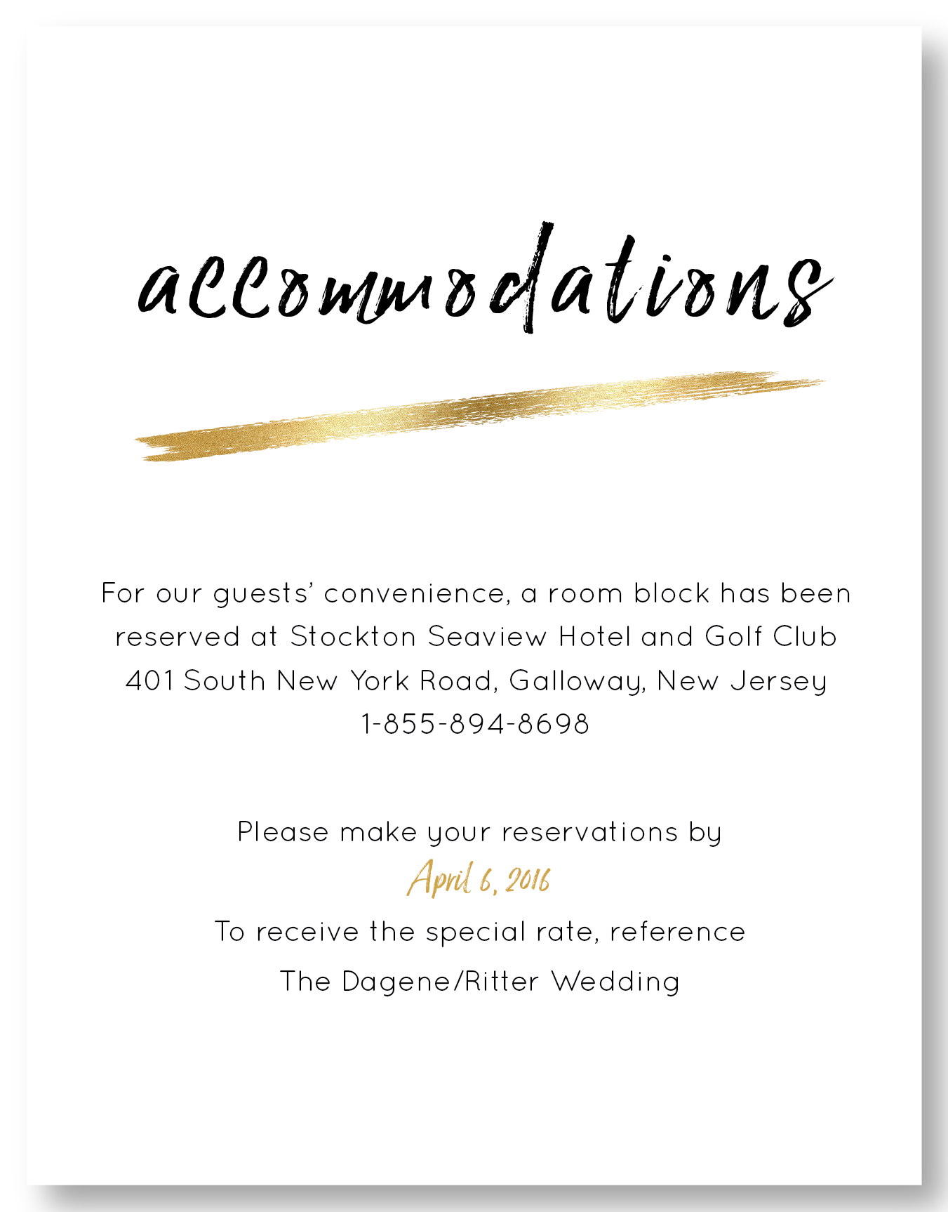 The Seaview - Accommodation Card