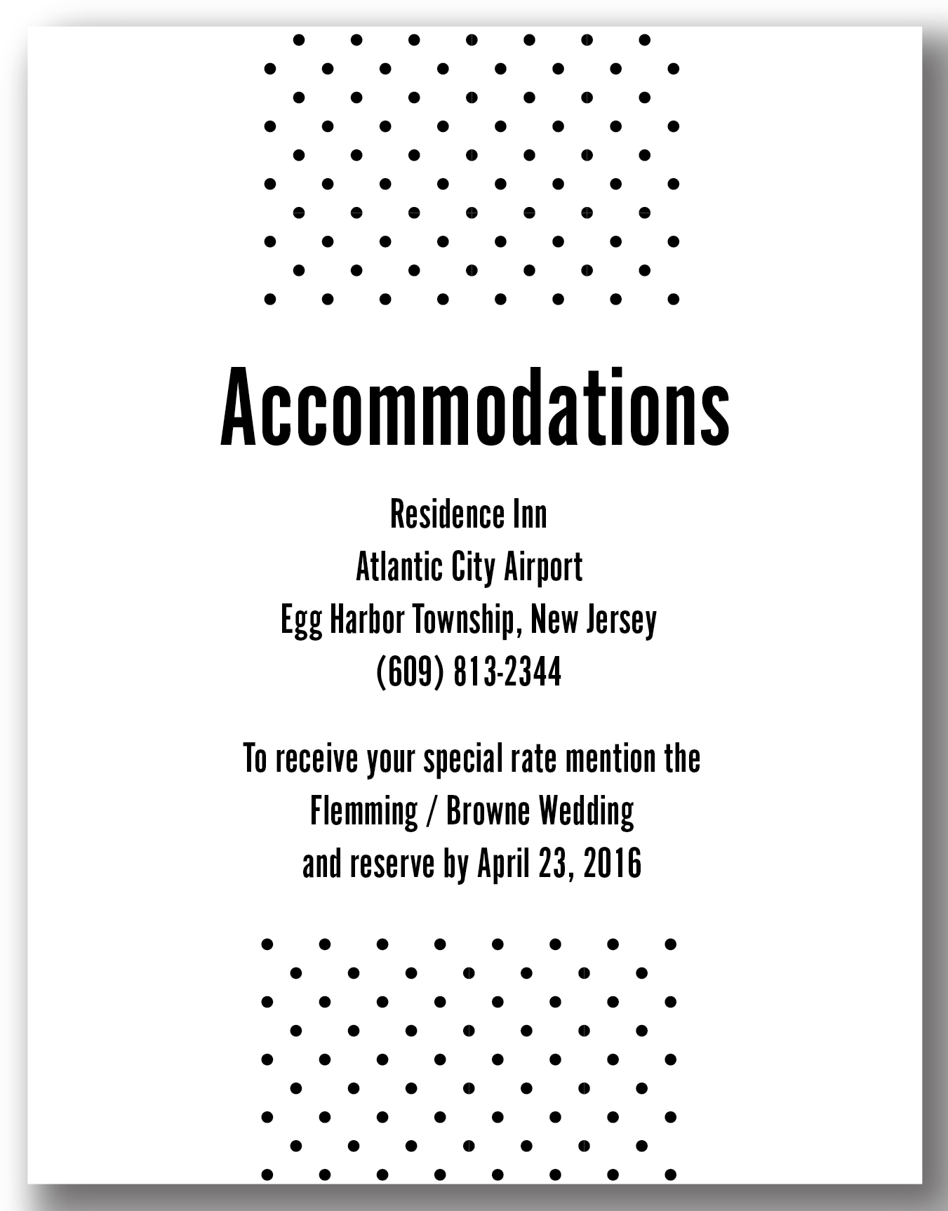 The Happy Valley - Accommodation Card