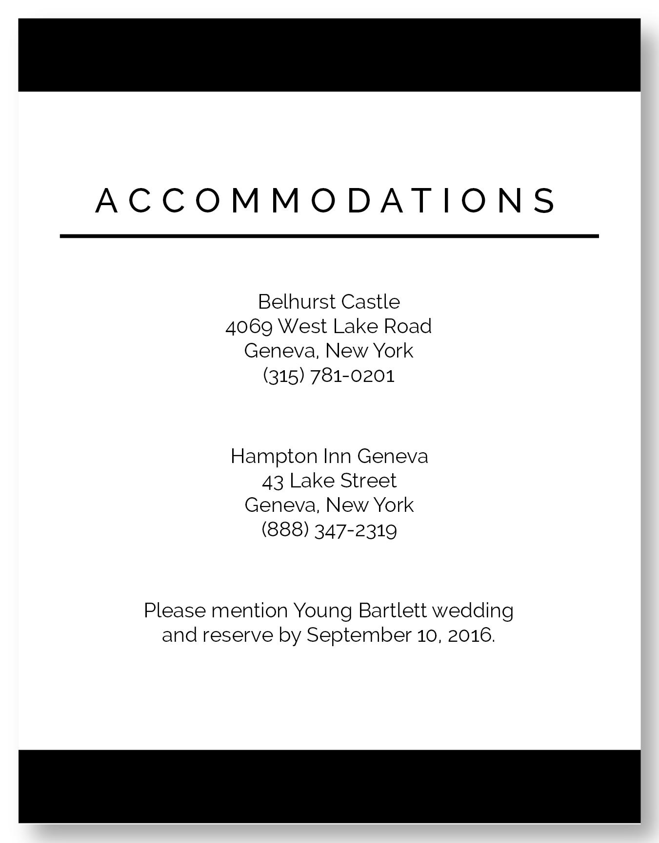 The Geneva - Accommodation Card