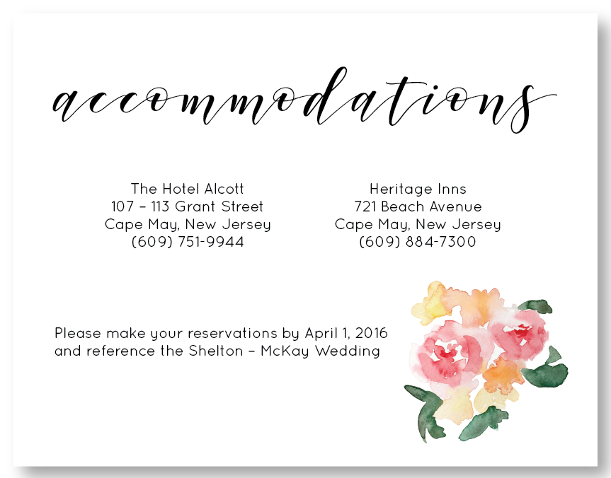 The Cape May - Accommodation Card