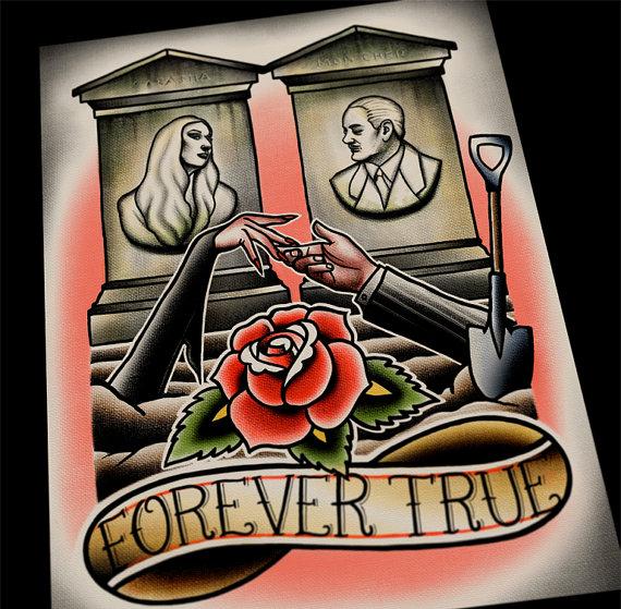 Addams Family Tattoo Flash Print