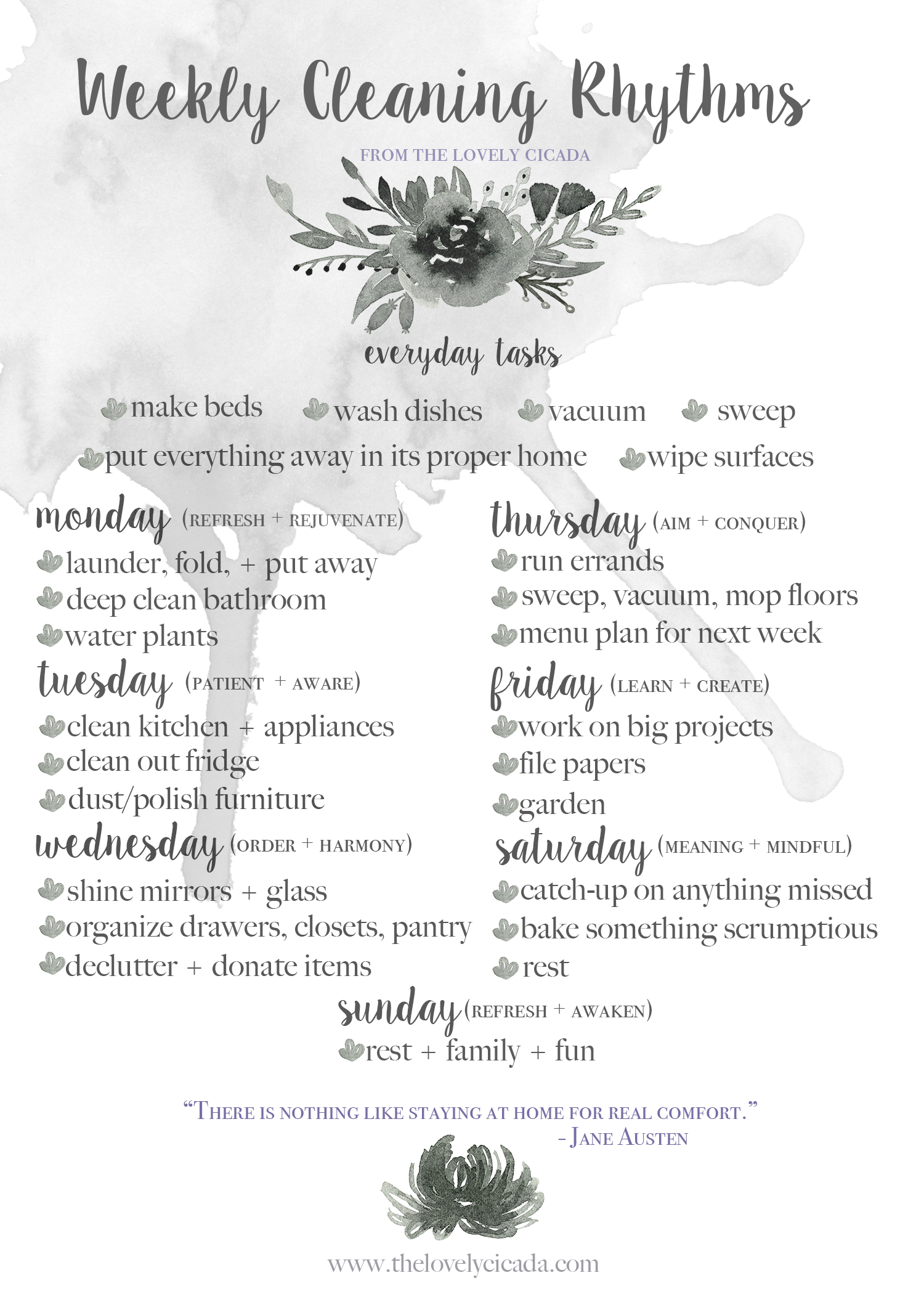 Weekly Cleaning Rhythms from thelovelycicada.com