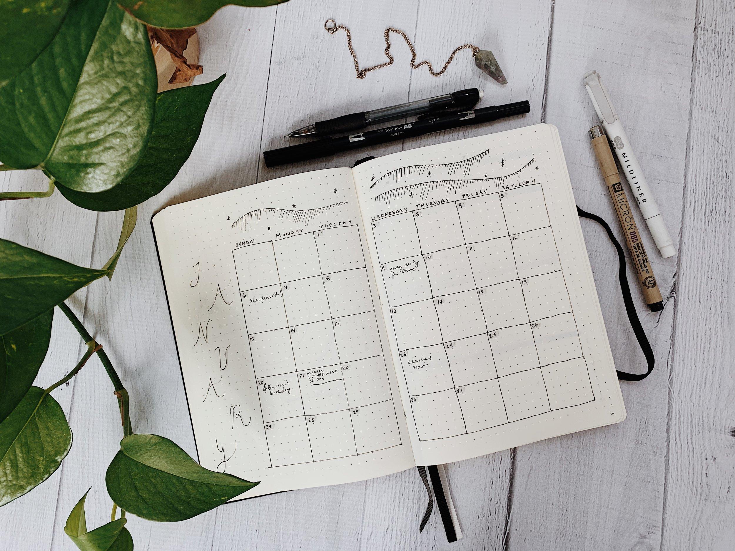 Minimal January Bullet Journal Spread + A Yearly Lunar Calendar
