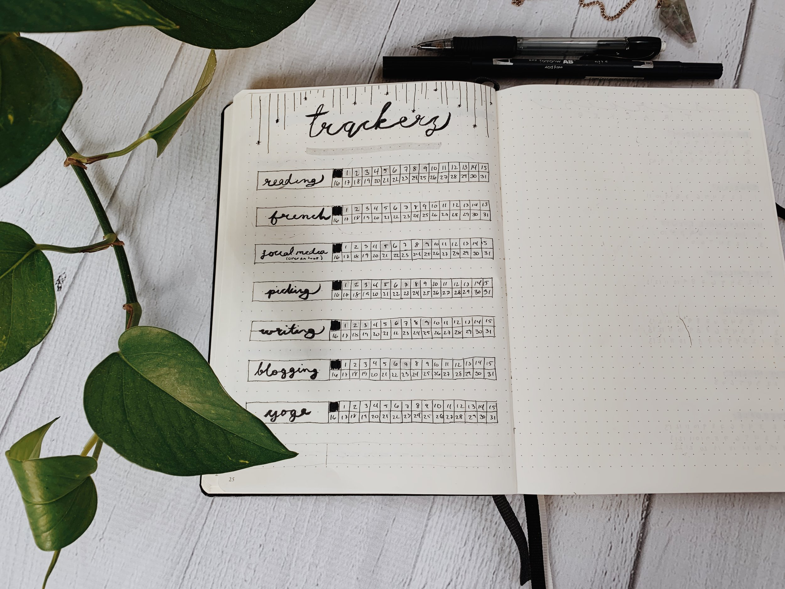 Minimal January Bullet Journal Spreads & Yearly Lunar Calendar