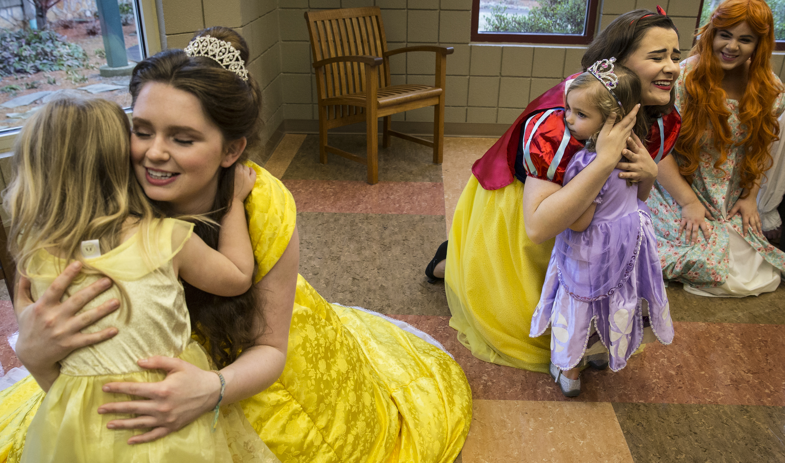 Disney princesses took over Christ Episcopal Church on Sunday, February 21, 2016, for Bowling Green High School's fourth annual Princess Tea. This event was to help raise funds for the school's choral activities and to bring joy to little girls hearts. Stephanie Berec dressed as Snow White, right, said goodbye to Landry Keltner, 3, as the event was coming to an end.