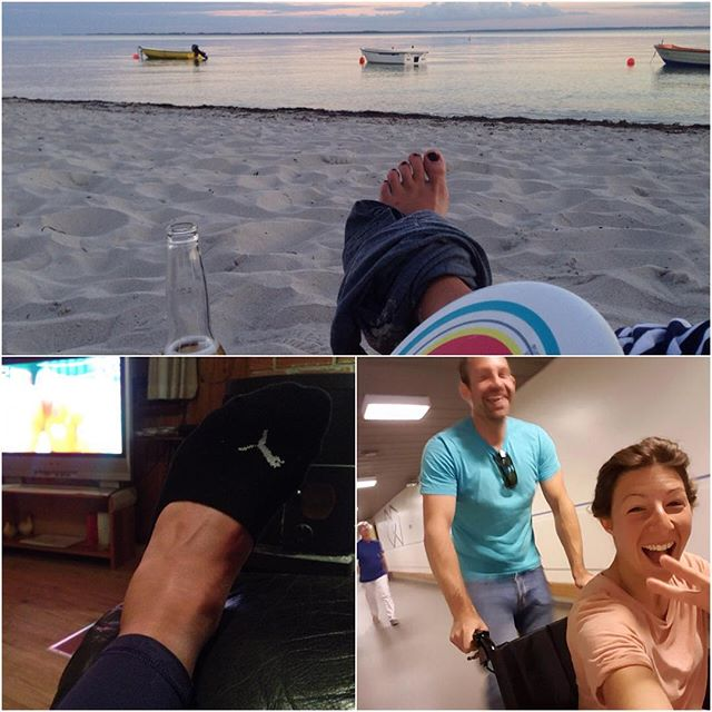 One day of no wind and this is what happens.. Extreme frisbee led to a sprained ankle a morning in hospital (withe wheelchair race 😎) and feet up on the couch and Olympia on TV.  No Red Bull battle of the Sund for me unfortunately.  I tried the raceboard today but I don't think my foot would last this epic race. 40km current and light winds would be a bit too much one day after the accident.  I'll keep partying for some wind for all the participants.  Super gutted not to see the girls racing and especially @katjaroose!  Good luck and loads of fun!!!! #battleofthesund #givesyouwings #kitesurfing #kiteboard #tomtombandit #levitaz #flysurferkiteboarding #kitechick #denmark #sweden #hospital #kitebeyond #kitegirl
