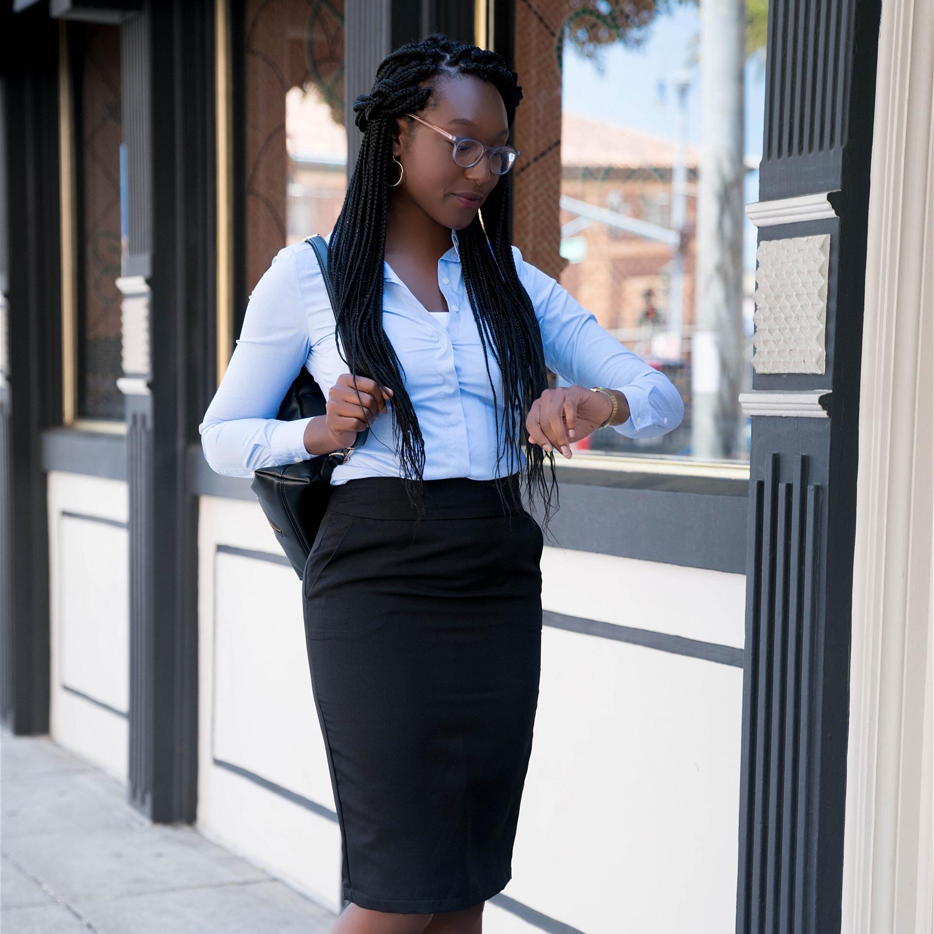 Power Pencil Skirt in black