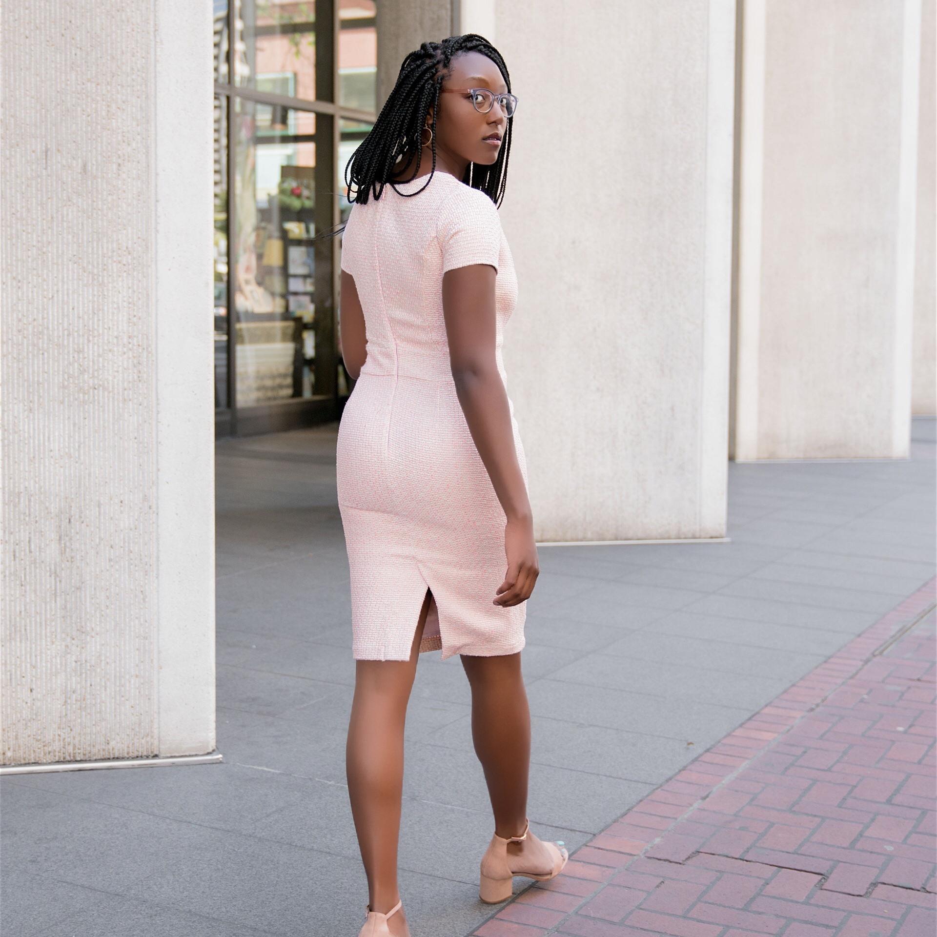 Pink Tweed dress for work