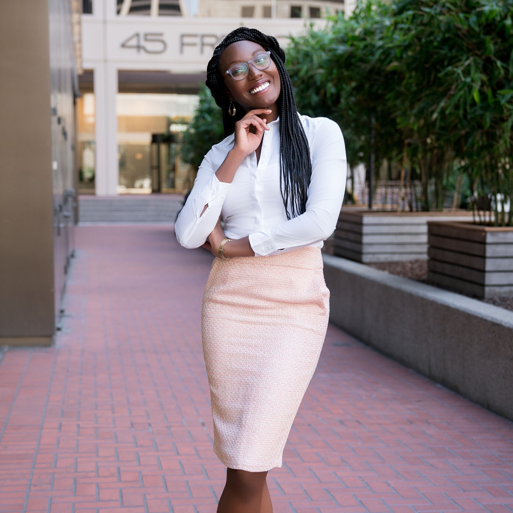 Pink tweed skirt for work