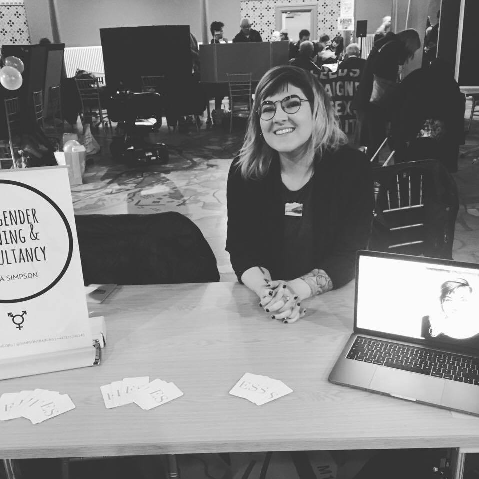 Emma Simpson at the Leeds City Museum LGBT History Month organisation fair in 2017