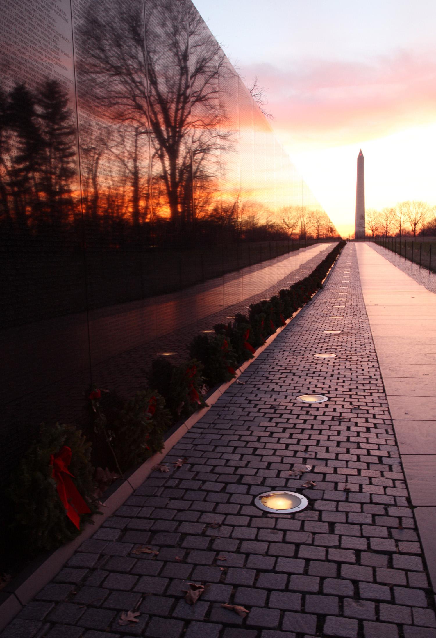 Dawn at the Vietnam Memorial