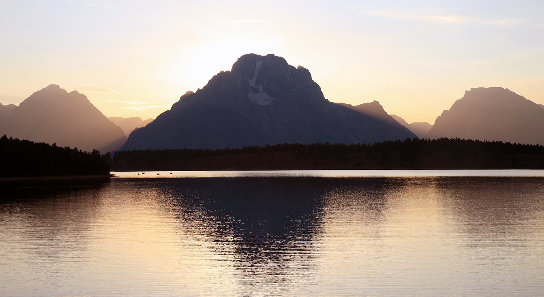 Silhouette on Jackson Lake