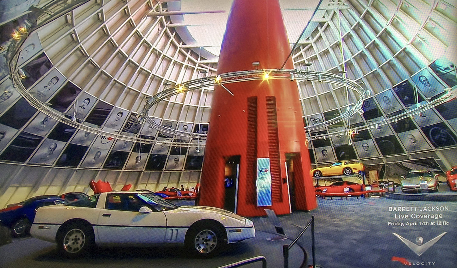 """National Corvette Museum, """"Hall Of Fame"""" portraits, Forty-three HOF inductees • These graphite renderings surround the spire of the NCM, Bowling Green, Kentucky. © KT"""