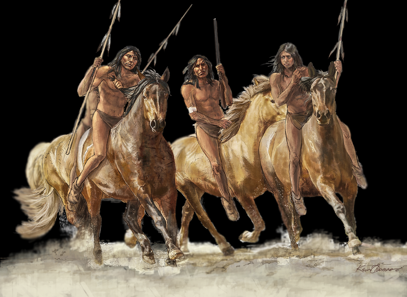 """""""Comanche warriors"""" • Illustration for graphic panel • Tales N' Trails Museum, Nocona, TX. © KT"""