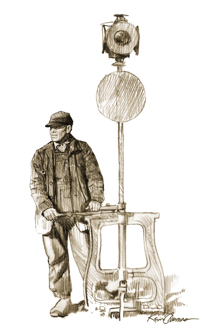 """""""Rail man"""" • Hamlet Depot & Museum, Hamlet, N.C. Digital Illustration for a life size standee located in the museum's back lobby. © KT"""