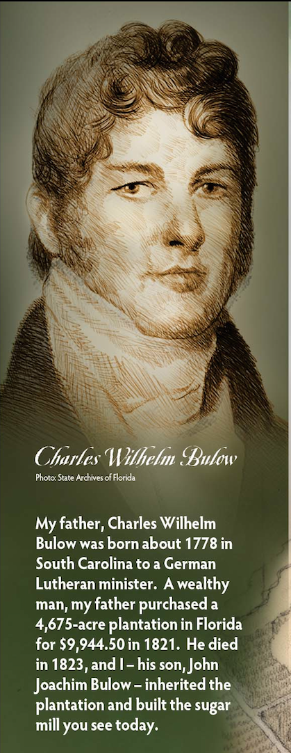 Charles Bulow portrait on finalized graphics pane • Bulow Plantation Ruins Historic State Park • Flagler Beach, FL. © KT