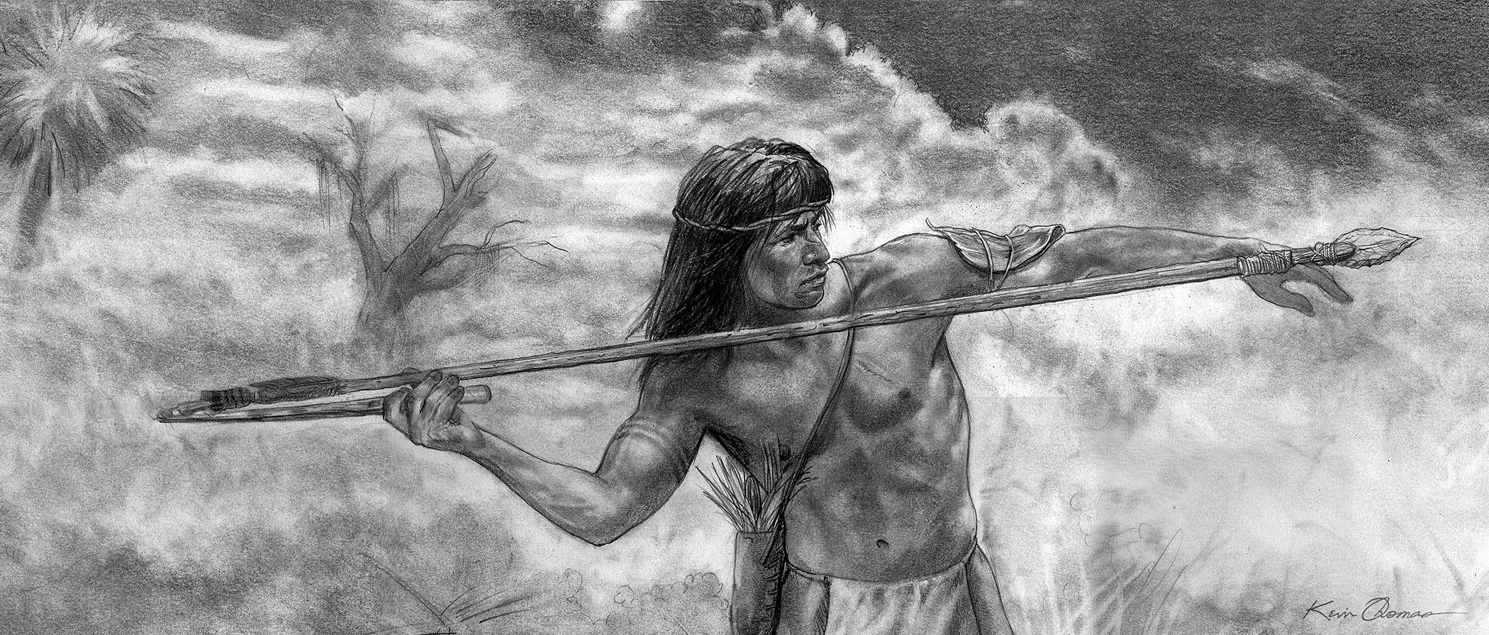 """Seminole hunter gatherer launches spear with atlatl"" • 10"" x 30"" • Graphite, South Florida Museum, Bradenton, FL. © KT"