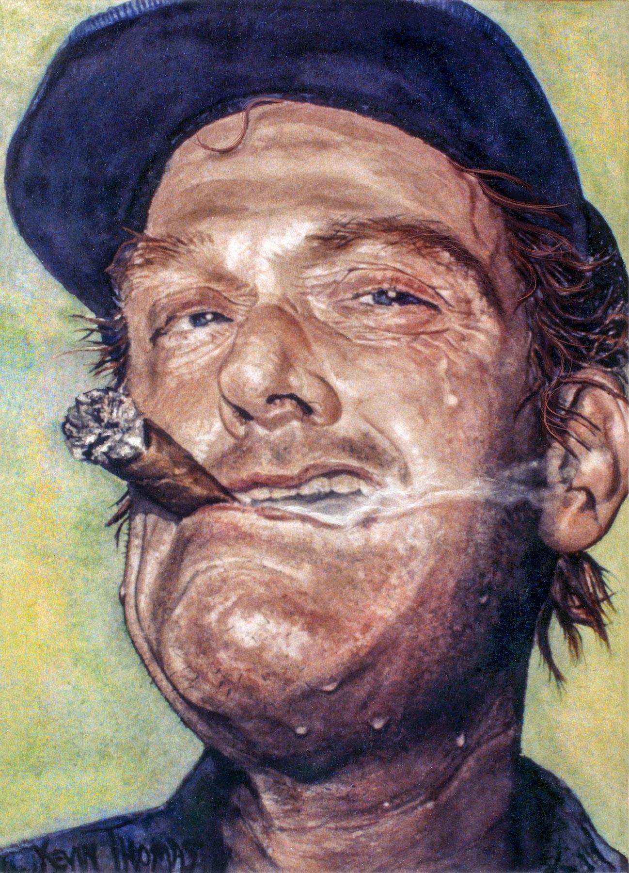 """Cigar man"" • 15"" x 22"" • watercolor • Sold"