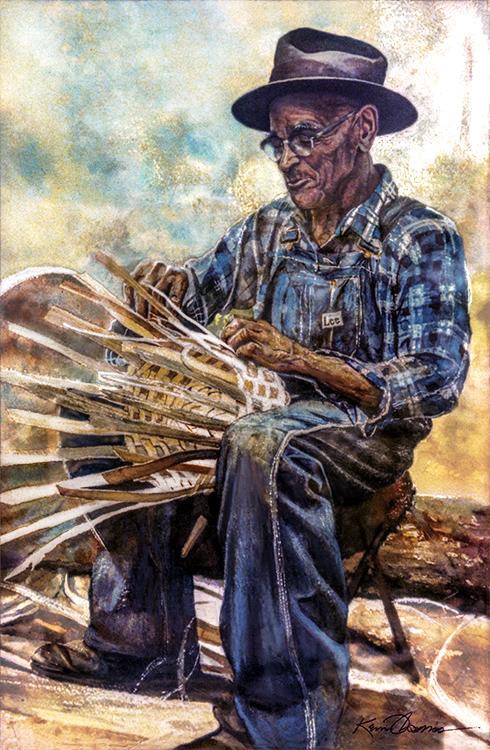 """Basket Weaver"" • 15"" x 22"" • watercolor • Sold"